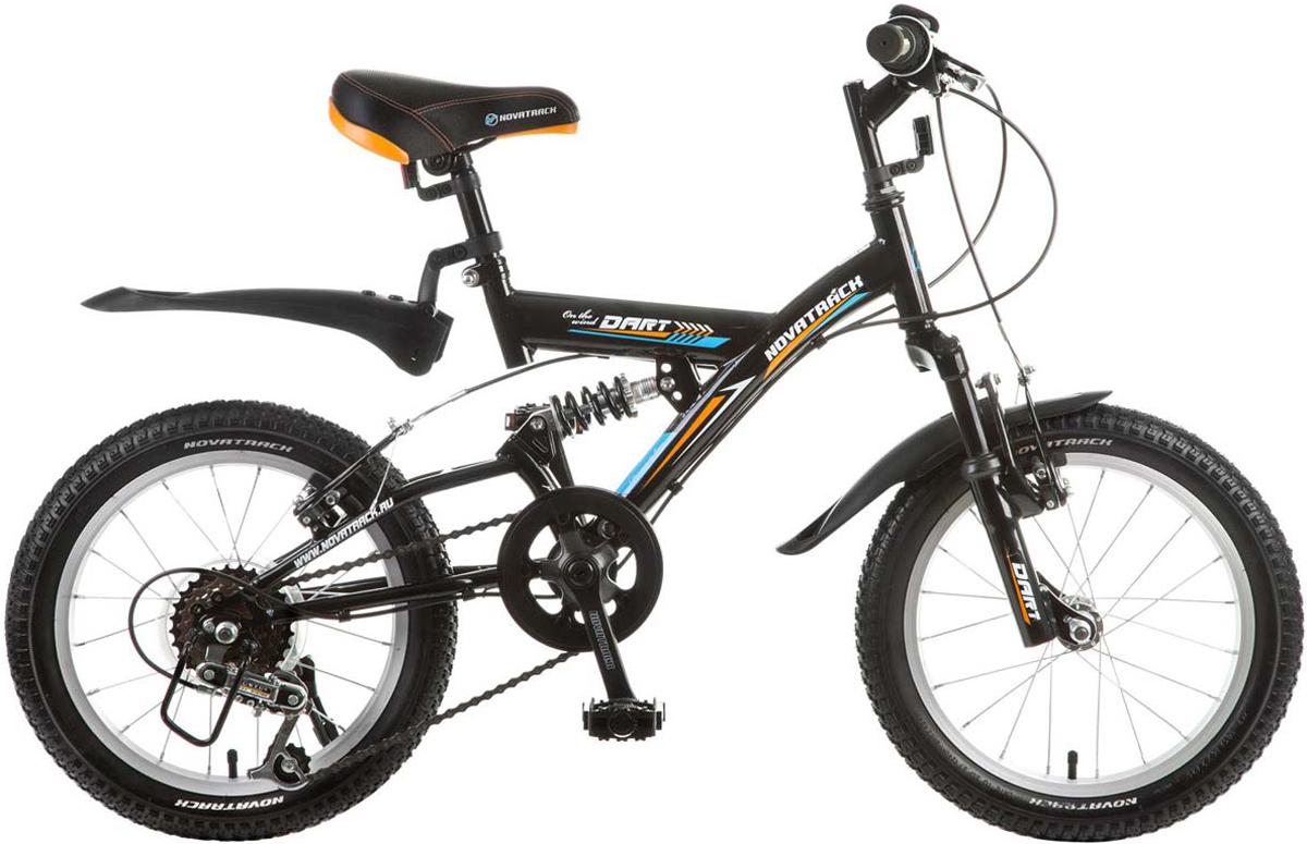 Велосипед детский Novatrack Dart, цвет: черный, 16 велосипед novatrack 16 зебра бордово белый 165 zebra clr6