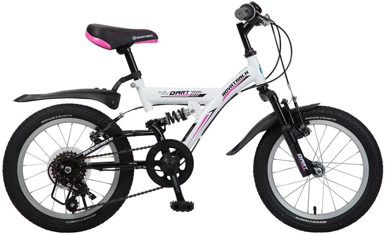 Велосипед детский Novatrack Dart, цвет: белый, 16 новый 3 в 1 велосипед сигнал велосипед тормозная лампа рог 7 л включите задний фонарь