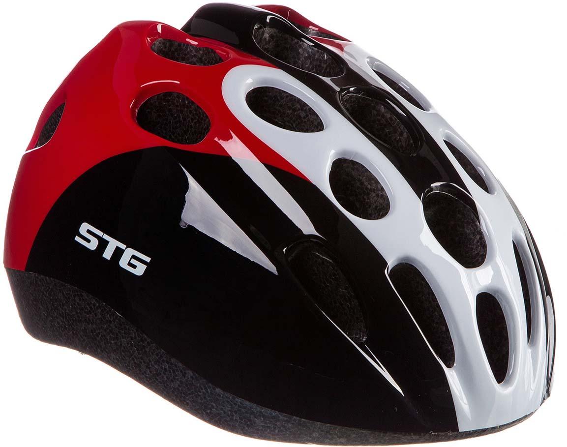 Шлем STG HB5-3, цвет: черный, красный, белый. Размер M (52-56 см) велошлем giro hex мтв m 55 59 см матовый белый gi7055326