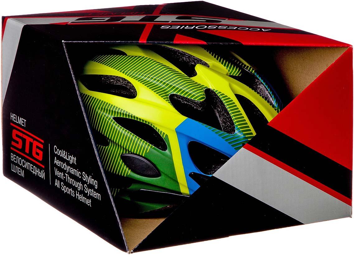 Шлем STG MV29-A, цвет: салатовый, синий, черный. Размер M (55-58 см) STG