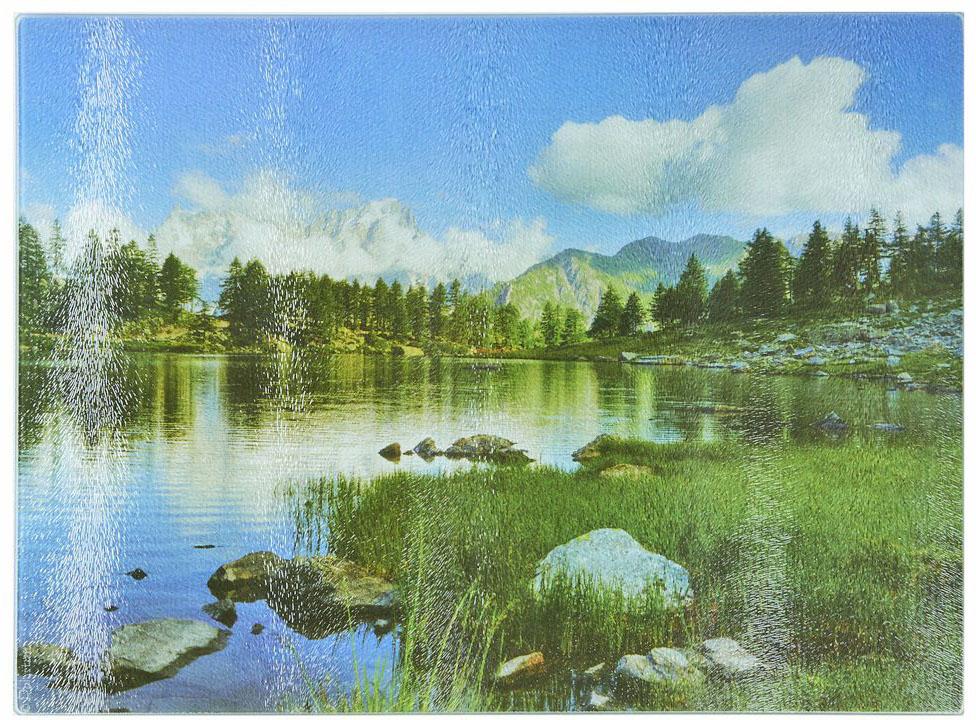 Доска разделочная Best Home Kitchen Горная река, стеклянная, рифленая, 40 х 30 х 0,5 см кружка printio горная река