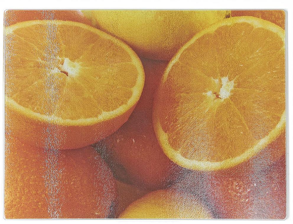 Доска разделочная Best Home Kitchen Апельсин, стеклянная, рифленая, 40 х 30 х 0,5 см доска разделочная best home kitchen апельсин 40 30 см