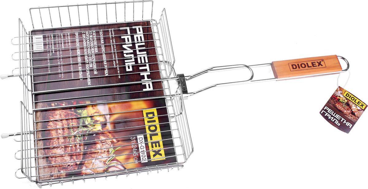 Решетка-гриль Diolex, цвет: серебристый, 31 х 24 см качурина т приготовление блюд из рыбы учебное пособие