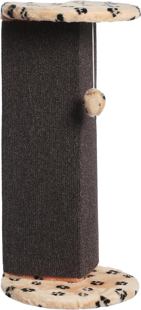 Когтеточка Меридиан, угловая, с игрушкой, цвет: светло-коричневый, 34 х 34 х 74 см когтеточка для котят меридиан цветы двойная цвет белый светло коричневый 30 х 20 х 34 см