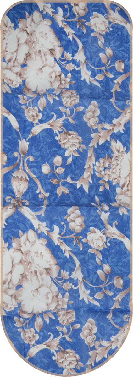 Чехол для гладильной доски, универсальный, цвет: синий,цветы 125 х 47 см + Полотно войлокообразное под чехол, цвет: белый, 130 х 50 см все цены