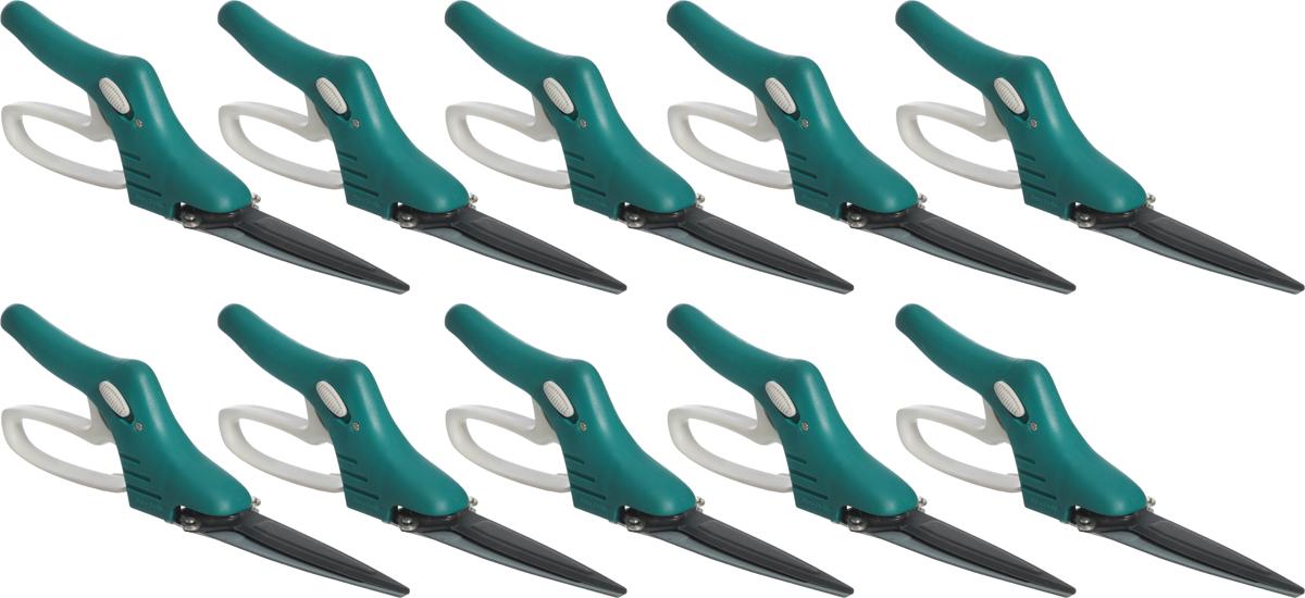 Ножницы для стрижки травы Raco, 3-позиционные с фиксатором, поворотный механизм 180 градусов, 355 мм, 10 шт ножницы для травы на штанге с колесами 930 мм поворот лезвий до 180 град palisad