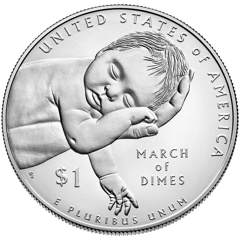 Монета номиналом 1 доллар 2015 США Национальный фонд детского паралича, серебро UNC монета номиналом 1 доллар 2016 сша марк твен серебро unc