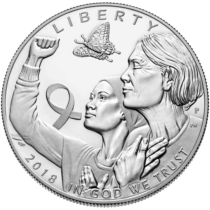 Монета номиналом 1 доллар 2018 США, Осведомленность о раке молочной железы, серебро Proof монета номиналом 1 доллар 2016 сша марк твен серебро unc