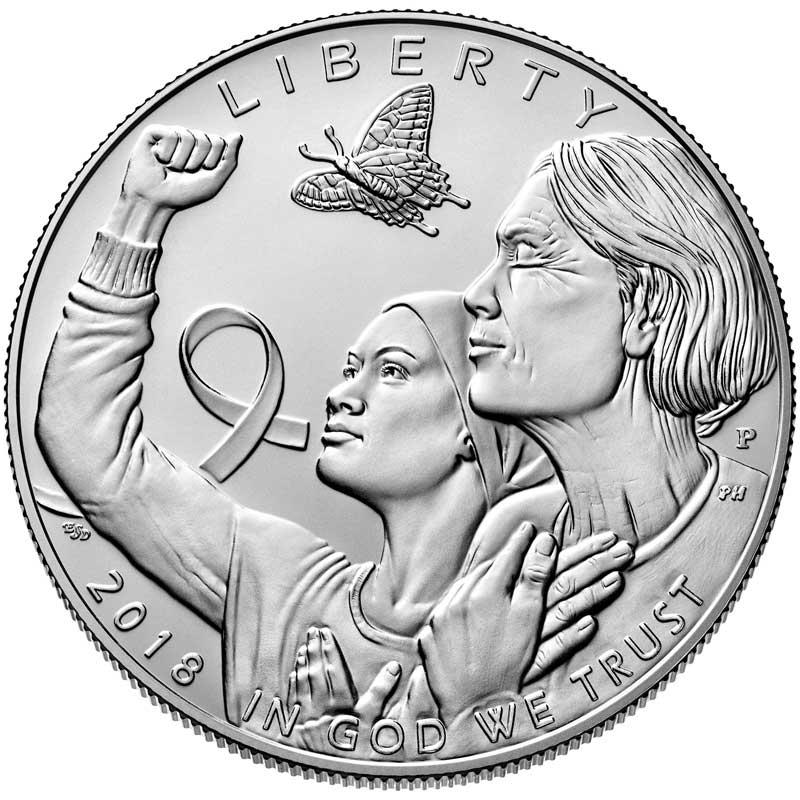 Монета номиналом 1 доллар 2018 США, Осведомленность о раке молочной железы, серебро UNC монета номиналом 1 доллар 2016 сша марк твен серебро unc
