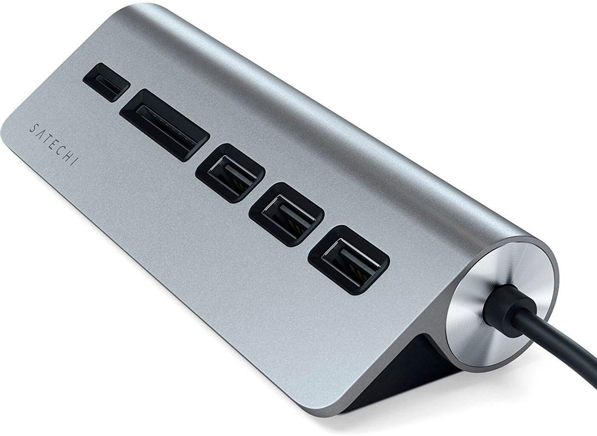 Satechi ST-TCHCRM, Grey USB-концентратор Type-C - Micro/SD Card Reader /USB 3.0 hosafe sv03 720p wireless pan tilt ip camera w 4pcs array ir leds two way speak motion detection alert micro sd card record