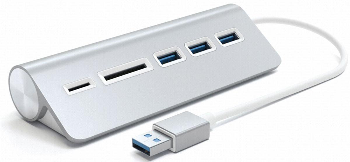 Satechi ST-3HCRS, Silver USB-концентратор /картридер картридер ritmix cr 3021 black usb 3 0 поддерживает sd microsd карт памяти plug n play питание от usb 5в скорость до 5 гбит с