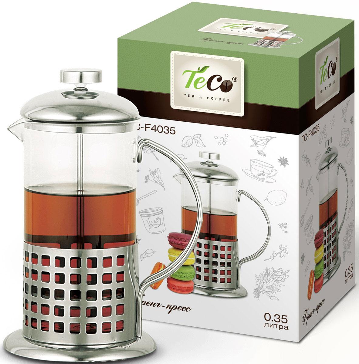 Френч-пресс Teco, цвет: серебристый, 0,35 л. TС-F4035 френч пресс teco tс f3035 0 35л металл стекло серебристый прозрачный