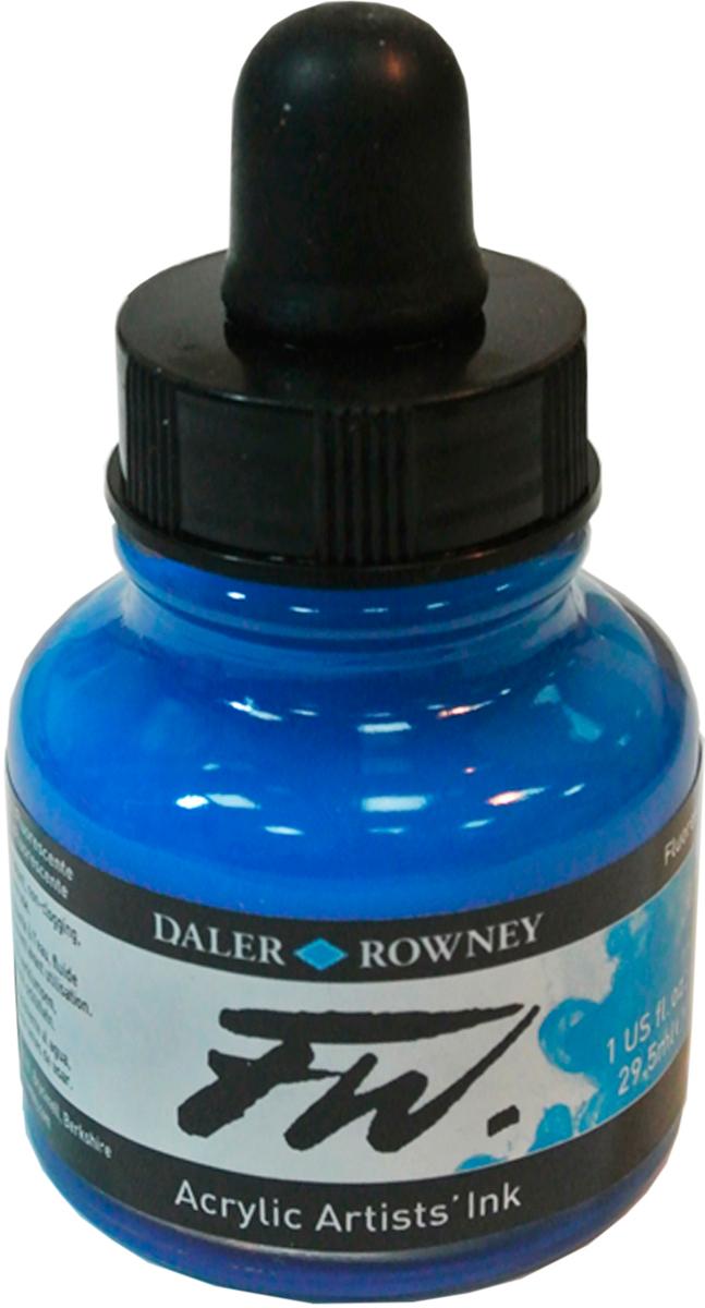 Daler Rowney Чернила акриловые Fw Artists цвет флуорисцентный голубой 29,5 мл