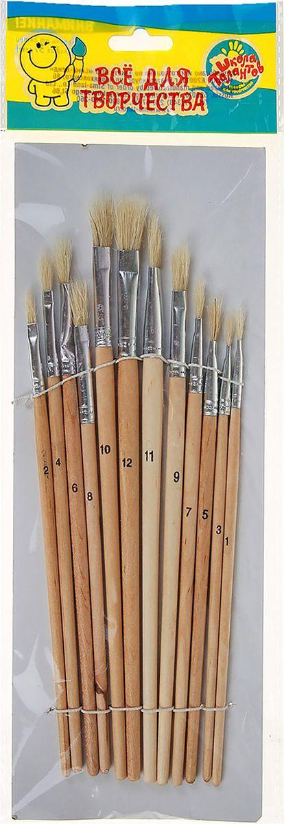 Школа талантов Набор кистей из щетины плоские №1, 2, 3, 4, 5, 6, 7, 8, 9, 10, 11, 12 12 шт набор кистей rubloff 12 колонок в футляре 8 шт