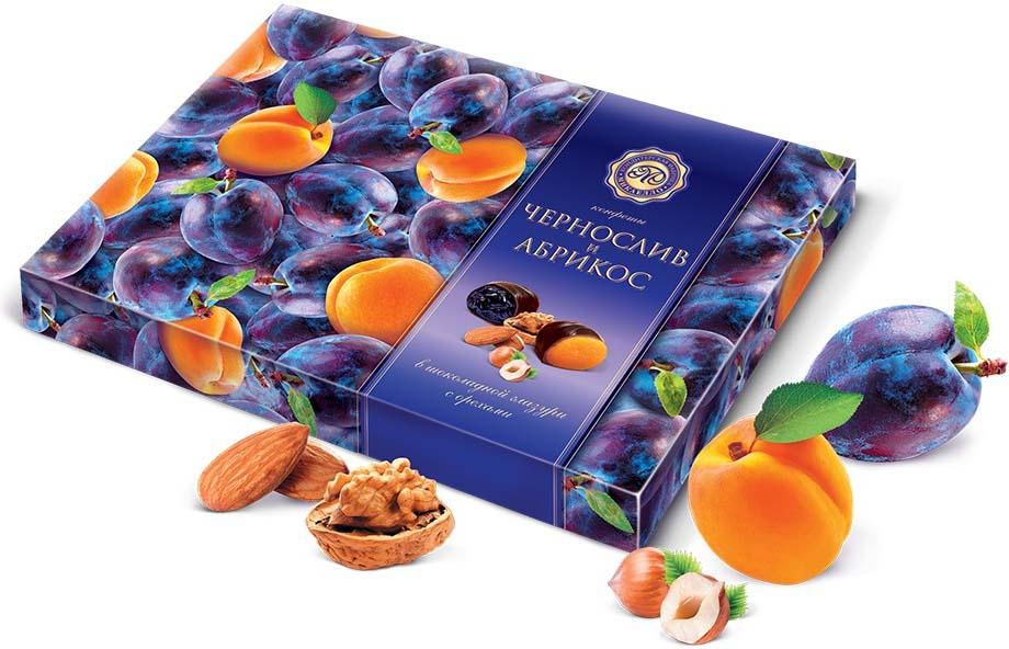 Микаелло Чернослив и абрикос в шоколадной глазури с орехами, 220 г бабаевский наслаждение конфеты с мягкой карамелью в шоколадной глазури 250 г