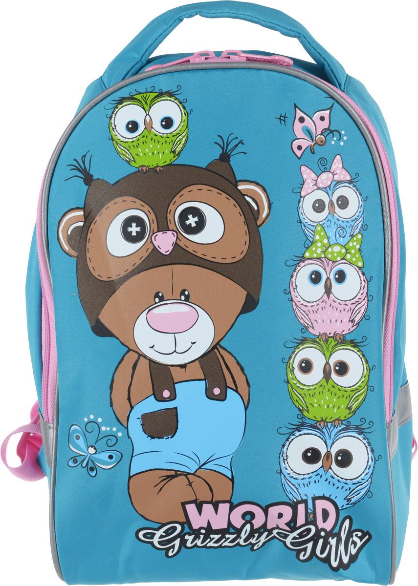 Grizzly Рюкзак дошкольный Медведь Совый цвет бирюзовый цена и фото