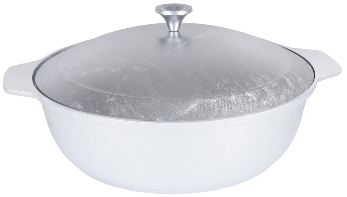 Кастрюля-жаровня Kukmara, с крышкой, цвет: серый металлик, 3 л кастрюля gsw oslo с крышкой цвет серебристый 2 8 л