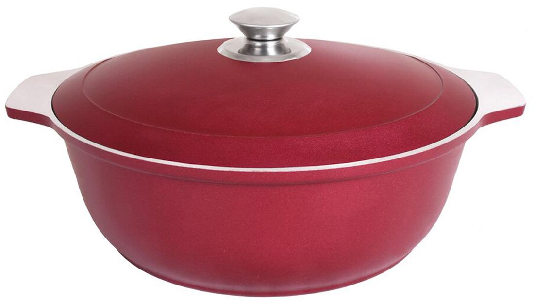 Кастрюля-жаровня Kukmara, с крышкой, цвет: бордовый, 5 л кастрюля walmer nova с крышкой 2 5 л