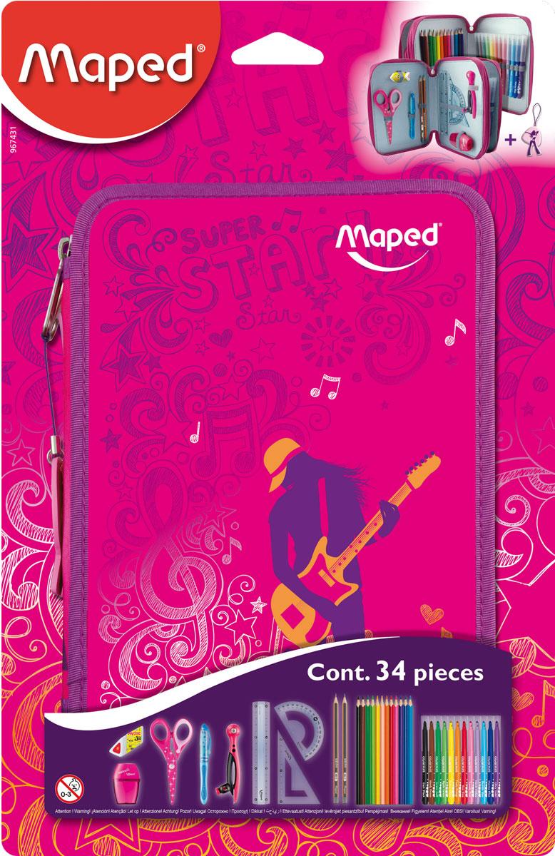 Maped Пенал Girly с наполнением набор канцелярии depesche 2 простых карандаша ластик линейка 15 см двойная точилка в чехле 10009867
