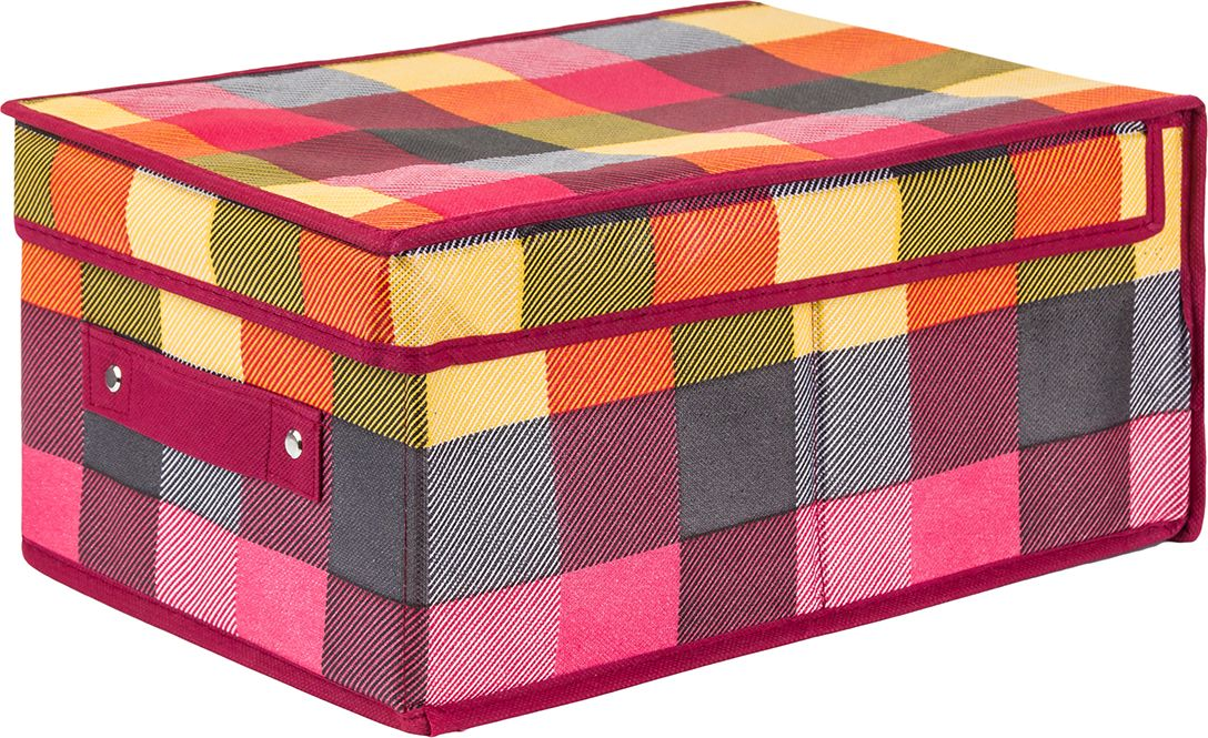 Кофр складной EL Casa Яркая клетка, для хранения, 25 x 35 x 16 см кофр для хранения miolla 38 x 25 x 56 см