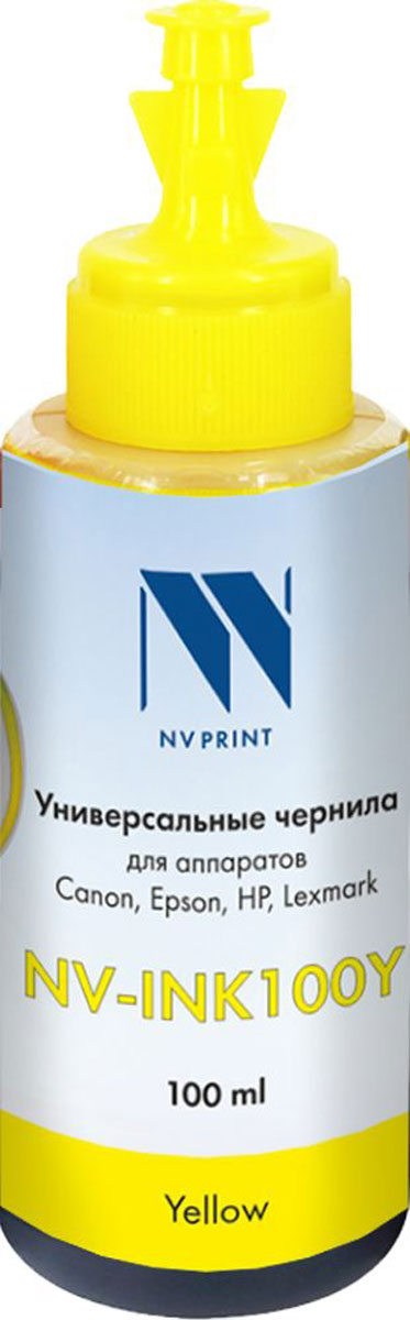NV Print NV-INK100, Yellow чернила на водной основе для Сanon/Epson/НР/Lexmark (100ml) sexy scoop neck random letter print cami top in yellow