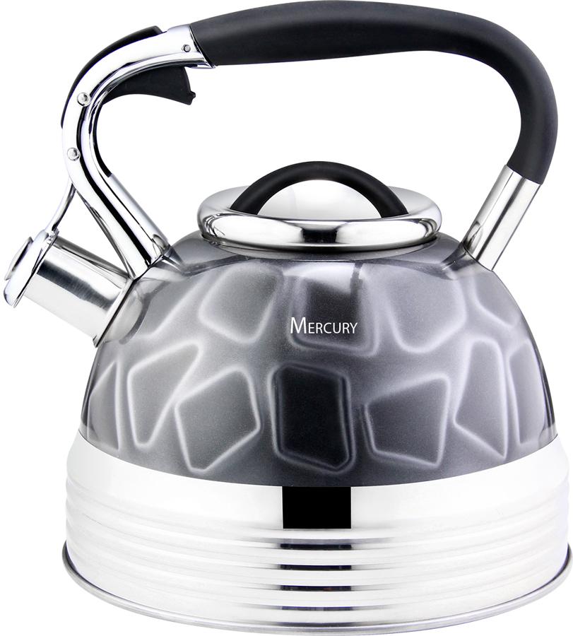Чайник Mercury, со свистком, цвет: серый, 3,5 л. MC-6582 электрический чайник mercury haus mercury mc 6621