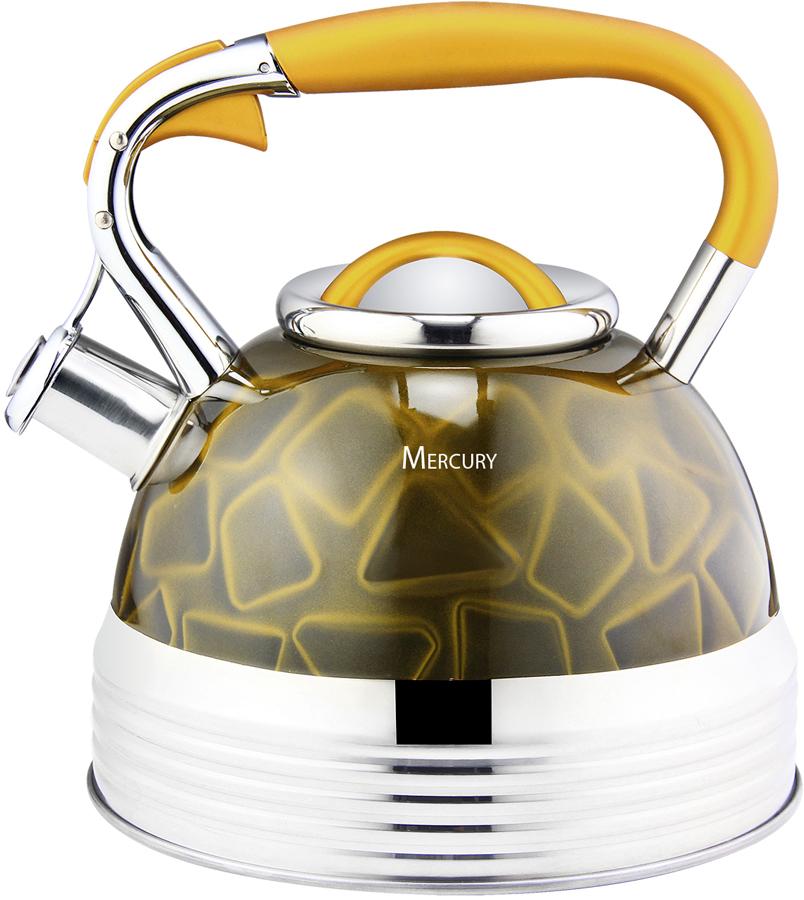Чайник Mercury, со свистком, цвет: золотистый, 3,5 л. MC-6583 электрический чайник mercury haus mercury mc 6621