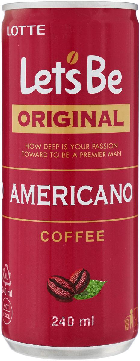 Lotte Let's Be безалкогольный негазированный кофейный напиток Americano, 240 мл lotte aloe vera напиток безалкогольный негазированный с мякотью алоэ оригинальный 500 мл