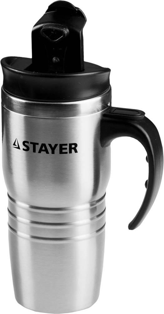 Термокружка Stayer, цвет: серый металлик, 450 мл термокружка металлическая