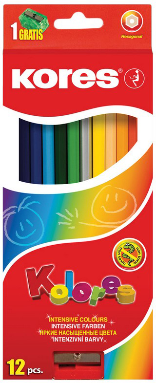 Kores Набор цветных карандашей с точилкой 12 цветов kores набор цветных карандашей двусторонние с точилкой 48 цветов