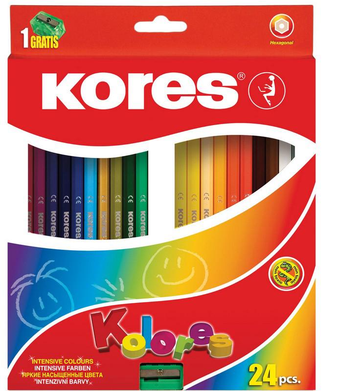 Kores Набор цветных карандашей с точилкой 24 цвета цветные карандаши набор 6цветов stabilo стабило woody 3in1 в картонном футляре