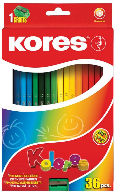 Kores Набор цветных карандашей с точилкой 36 цветов карандаши восковые мелки пастель carioca набор карандашей 36 цветов точилка