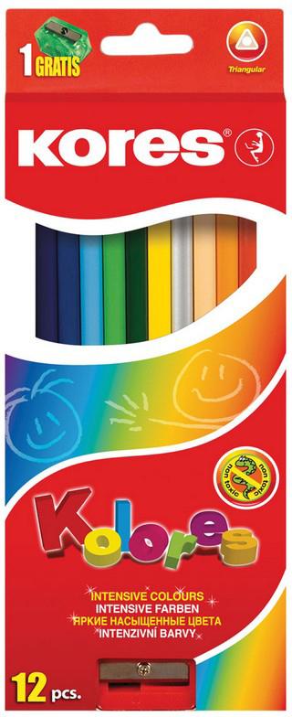 Kores Набор цветных карандашей с точилкой 12 цветов 128902 kores набор цветных карандашей двусторонние с точилкой 48 цветов