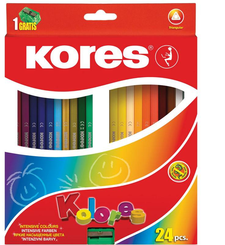 Kores Набор цветных карандашей с точилкой 24 цвета 128903 kores набор цветных карандашей двусторонние с точилкой 48 цветов
