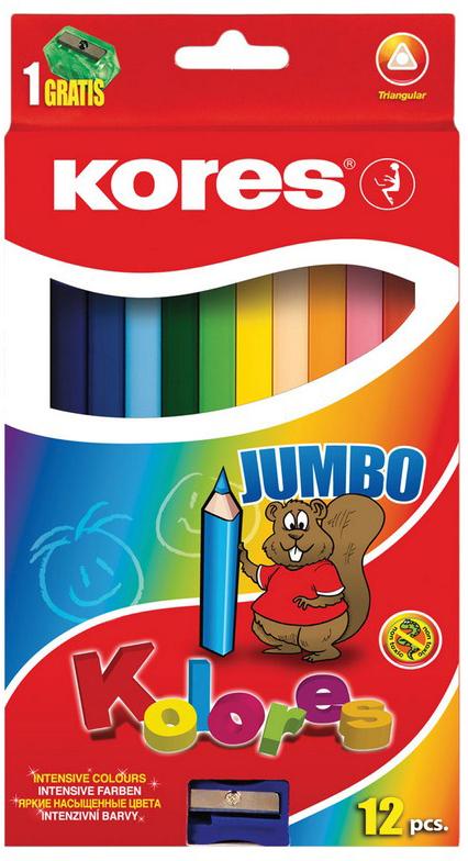 Kores Набор цветных карандашей Jumbo с точилкой 12 цветов kores набор цветных карандашей двусторонние с точилкой 48 цветов