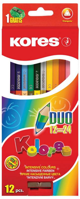 Kores Набор цветных карандашей двусторонние с точилкой 24 цвета kores набор цветных карандашей двусторонние с точилкой 48 цветов