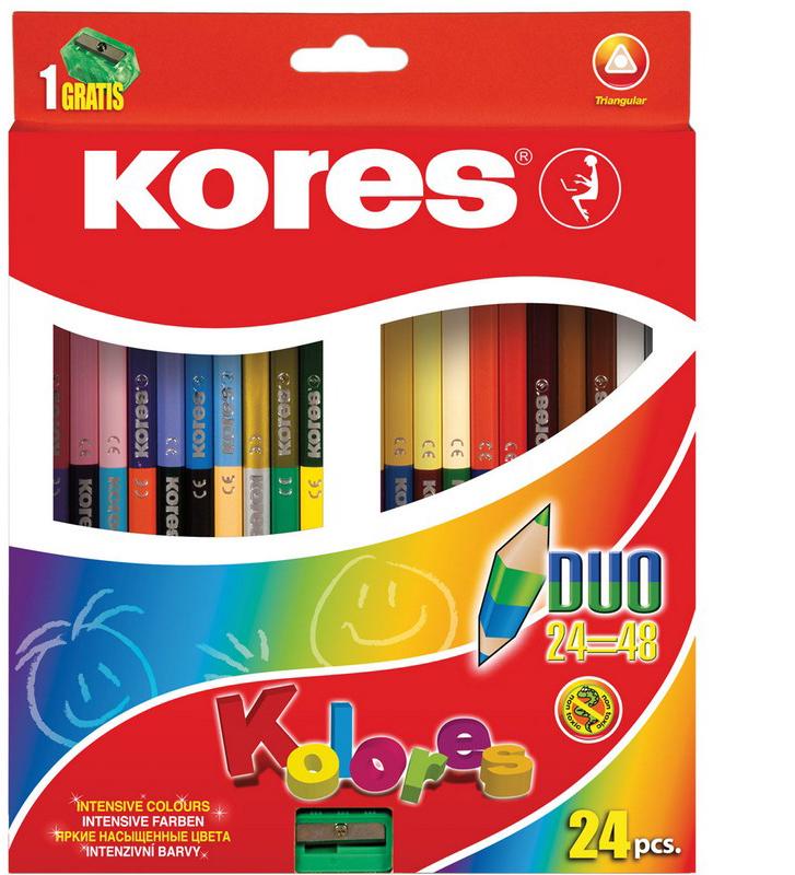 Kores Набор цветных карандашей двусторонние с точилкой 48 цветов
