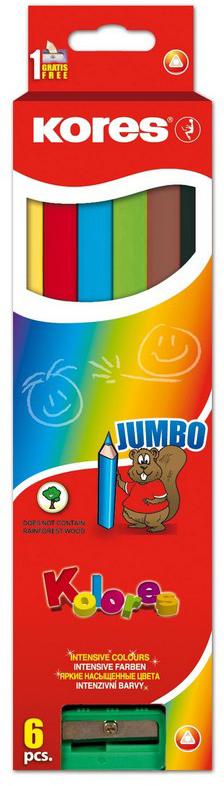 Kores Набор цветных карандашей Jumbo с точилкой 6 цветов kores набор цветных карандашей двусторонние с точилкой 48 цветов