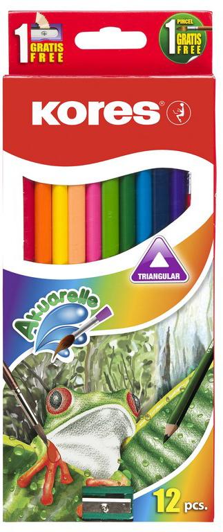 Kores Набор цветных карандашей акварельные + кисть + точилка 12 цветов kores набор цветных карандашей двусторонние с точилкой 48 цветов