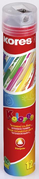 Kores Набор цветных карандашей с точилкой 12 цветов 368372 карандаши цветные 12 цветов мonster high длинные в металлическом тубксе с точилкой 85046