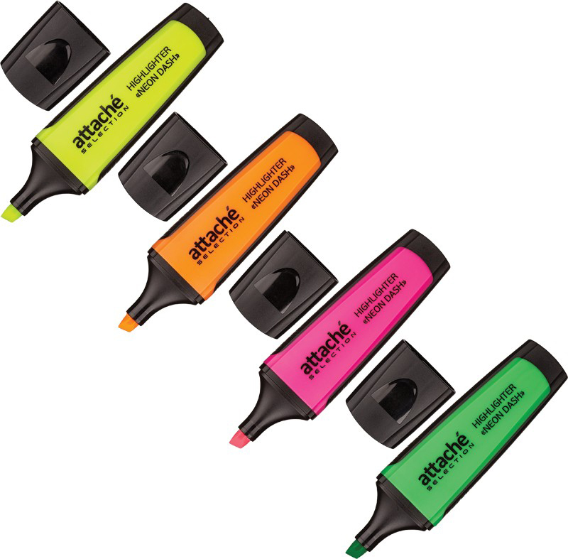 Attache Selection Набор маркеров Neon Dash 4 цвета маркер attache selection neon dash 1 5mm yellow 426881