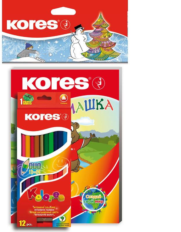 Kores Набор цветных карандашей Занимашка Новогодний набор 24 цвета kores набор цветных карандашей двусторонние с точилкой 48 цветов
