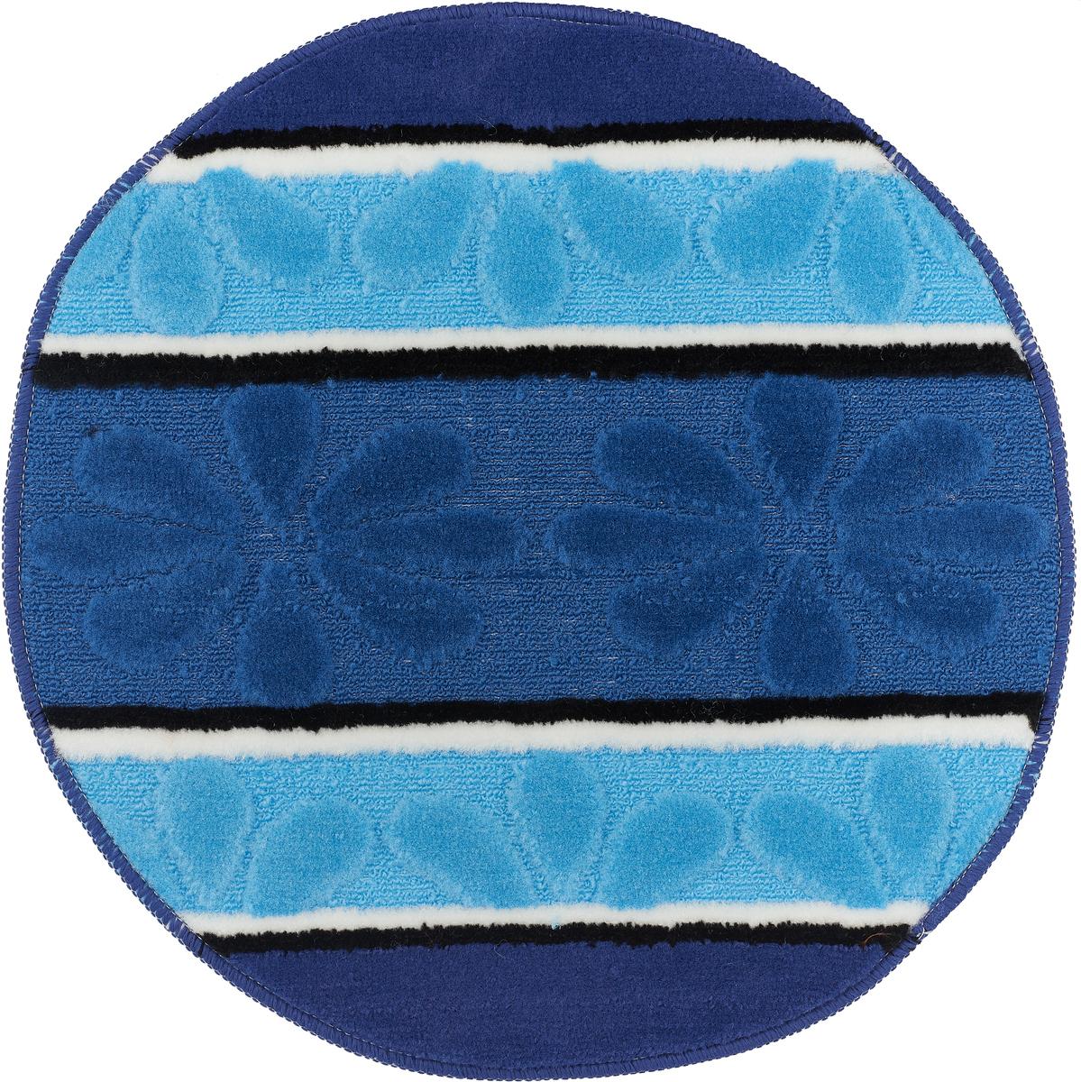"""Коврик для ванной комнаты Dasch """"Ромашка"""", цвет: синий, голубой, диаметр 55 см"""