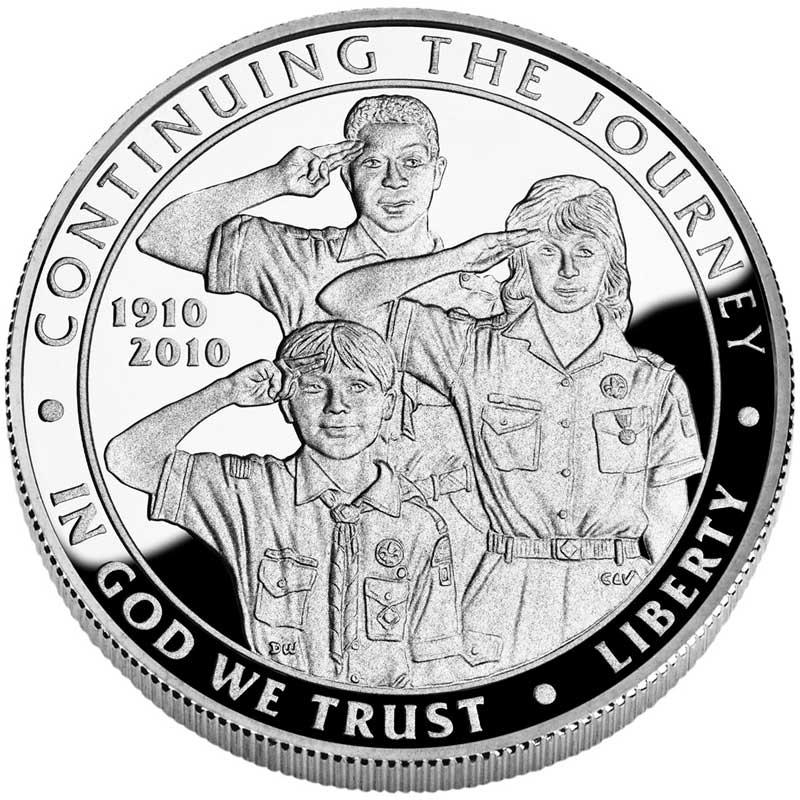 Монета номиналом 1 доллар 2010 100 лет Бой скаутам Америки, белый металл proof монета номиналом 3 рубля 50 лет победы на курской дуге proof в капсуле россия 1993 год