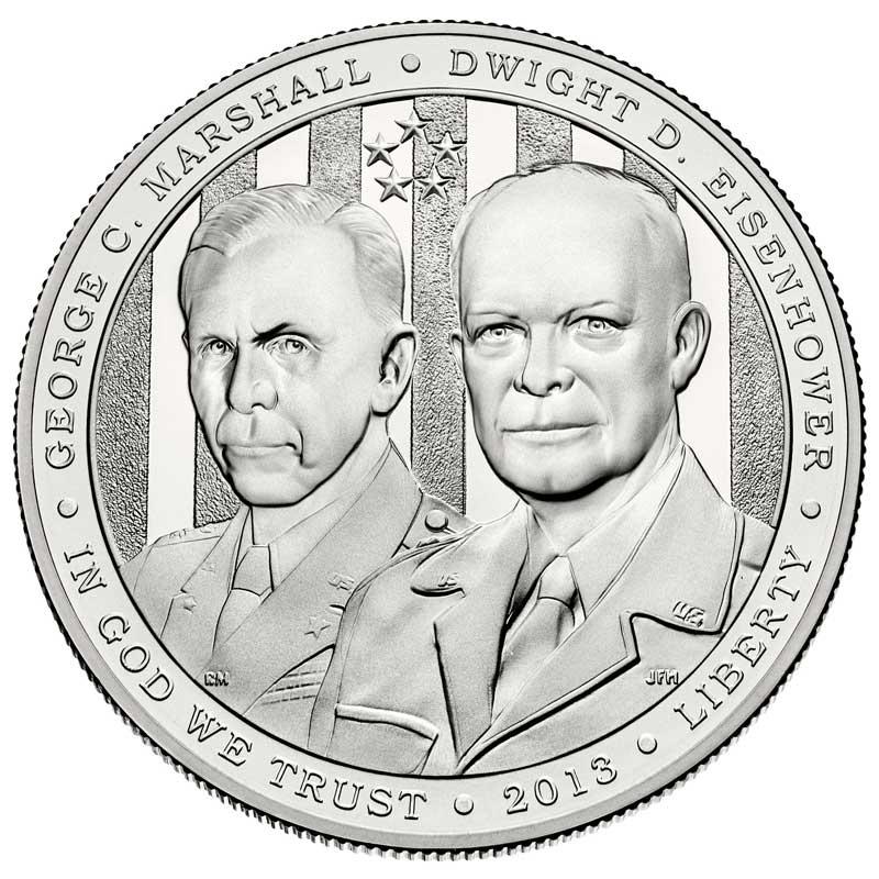 Монета номиналом 1 доллар 2013 США Пятизвездочные генералы Маршалл и Эйзенхауэр, белый металл UNC монета номиналом 1 доллар 2016 сша марк твен серебро unc