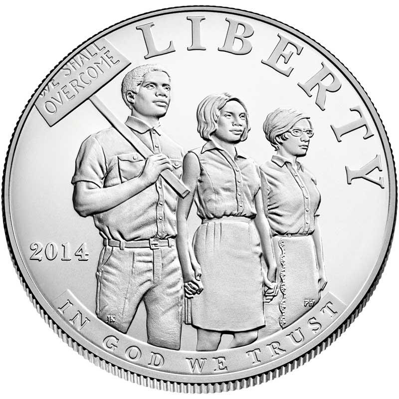 Монета номиналом 1 доллар 2014 США Закон о гражданских правах 1964 года, белый металл UNC монета номиналом 1 доллар 2016 сша марк твен серебро unc
