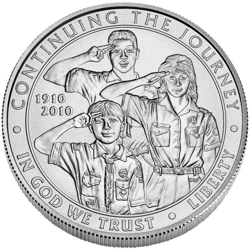 Монета номиналом 1 доллар 2010 100 лет Бой скаутам Америки, белый металл UNC монета номиналом 1 доллар 2016 сша марк твен серебро unc