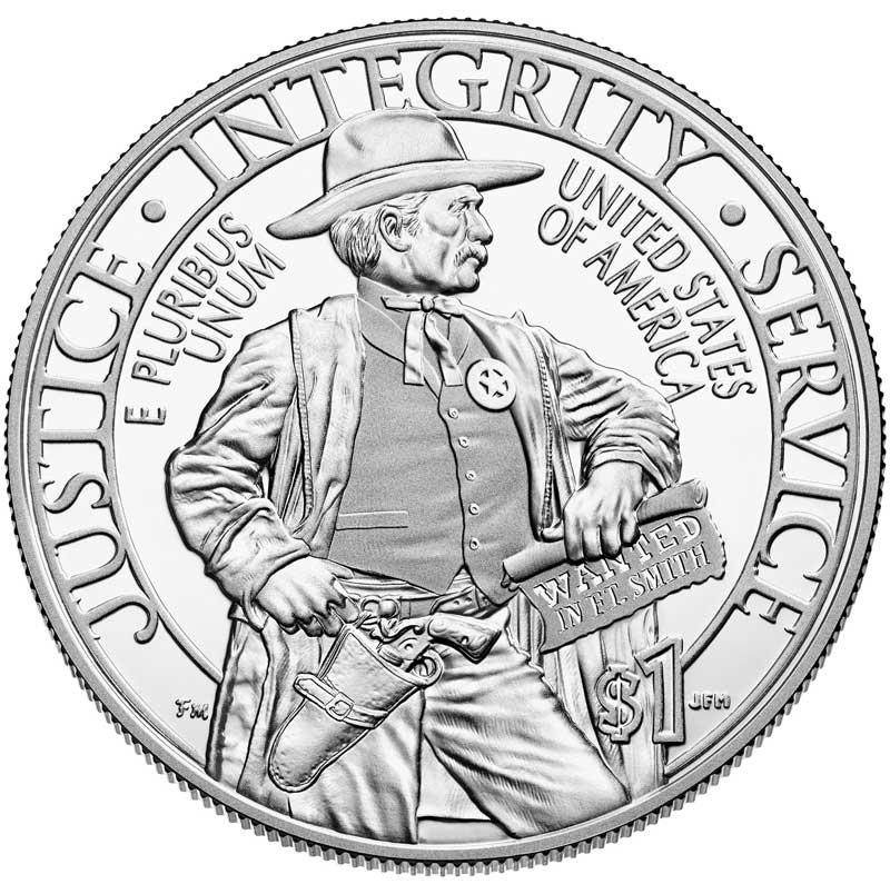 Монета номиналом 1 доллар 2015 США Служба маршалов, белый металл Proof монета номиналом 3 рубля 50 лет победы на курской дуге proof в капсуле россия 1993 год