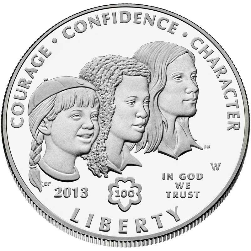 Монета номиналом 1 доллар 2013 США Девочки скауты, белый металл Proof монета номиналом 3 рубля 50 лет победы на курской дуге proof в капсуле россия 1993 год