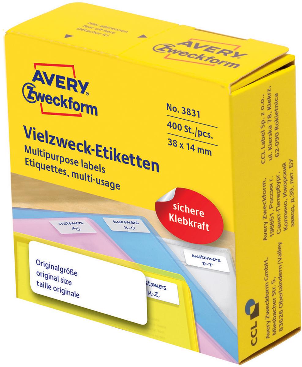 Avery Zweckform Этикетки самоклеящиеся универсальные в диспенсере цвет белый 38 x 14 мм 400 шт жидкость для удаления этикеток avery zweckform спрей 150 мл